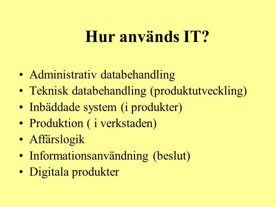 Hur används IT? •Administrativ databehandling •Teknisk databehandling (produktutveckling) •Inbäddade system (i produkter) •Produktion ( i verkstaden)