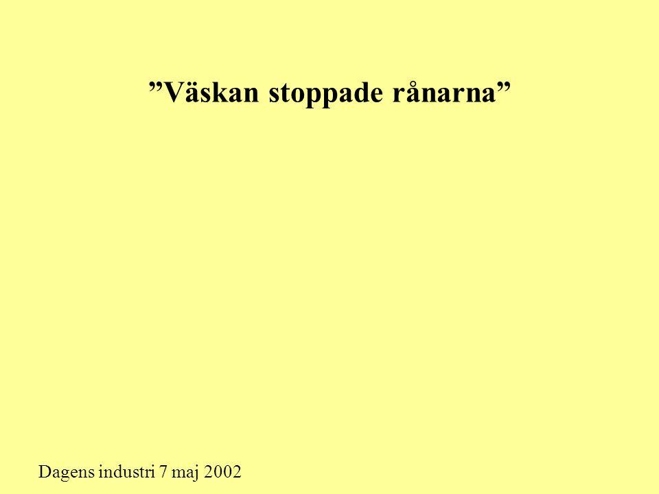 """""""Väskan stoppade rånarna"""" Dagens industri 7 maj 2002"""