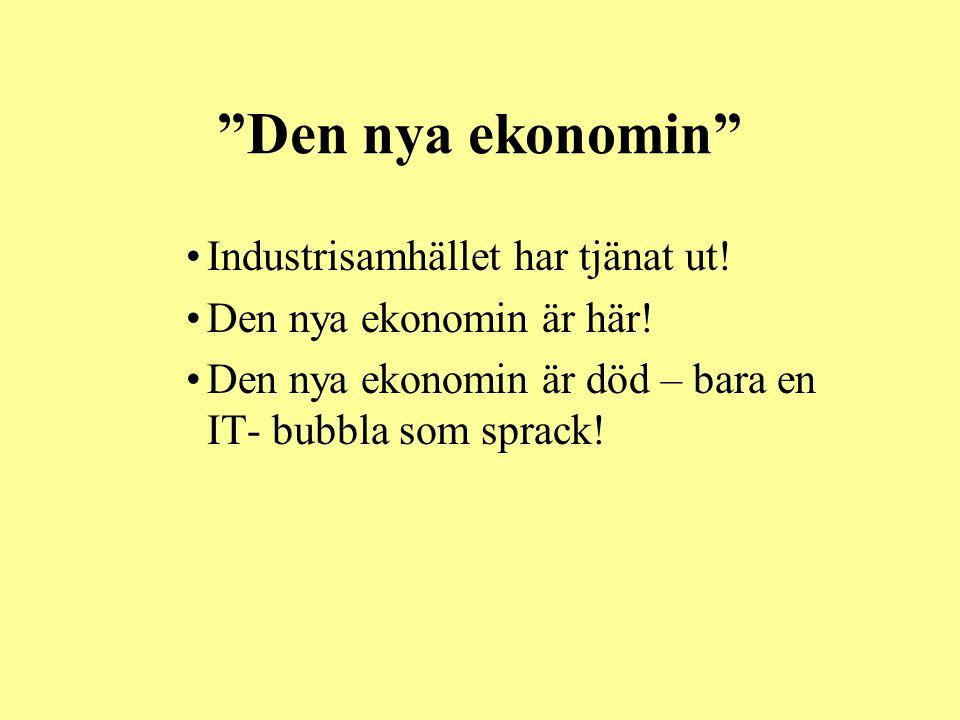 """""""Den nya ekonomin"""" •Industrisamhället har tjänat ut! •Den nya ekonomin är här! •Den nya ekonomin är död – bara en IT- bubbla som sprack!"""