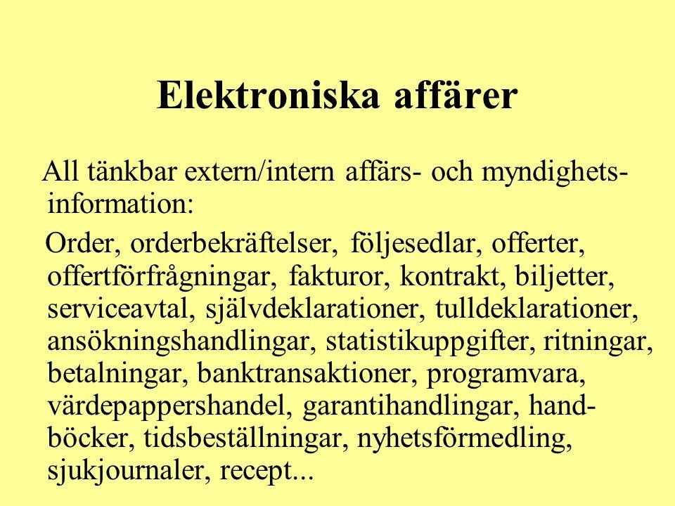 Elektroniska affärer All tänkbar extern/intern affärs- och myndighets- information: Order, orderbekräftelser, följesedlar, offerter, offertförfrågning