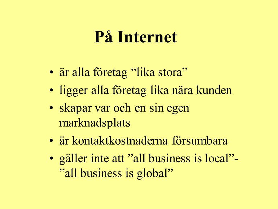 """På Internet •är alla företag """"lika stora"""" •ligger alla företag lika nära kunden •skapar var och en sin egen marknadsplats •är kontaktkostnaderna försu"""