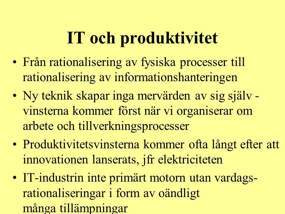 IT och produktivitet •Från rationalisering av fysiska processer till rationalisering av informationshanteringen •Ny teknik skapar inga mervärden av si