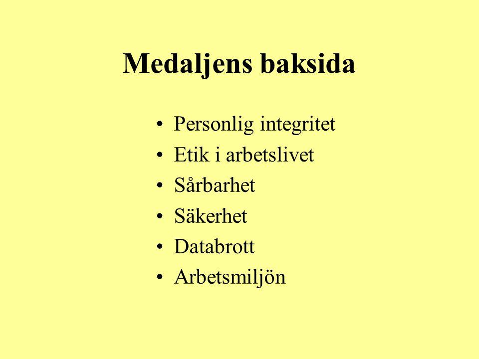 Medaljens baksida •Personlig integritet •Etik i arbetslivet •Sårbarhet •Säkerhet •Databrott •Arbetsmiljön