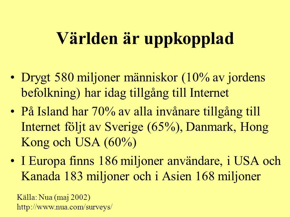 Världen är uppkopplad •Drygt 580 miljoner människor (10% av jordens befolkning) har idag tillgång till Internet •På Island har 70% av alla invånare ti