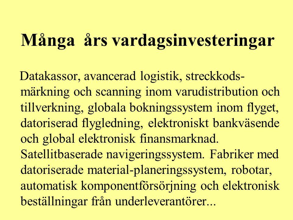 Många års vardagsinvesteringar Datakassor, avancerad logistik, streckkods- märkning och scanning inom varudistribution och tillverkning, globala bokni
