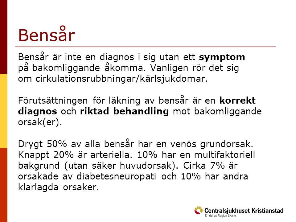 Bensår Bensår är inte en diagnos i sig utan ett symptom på bakomliggande åkomma. Vanligen rör det sig om cirkulationsrubbningar/kärlsjukdomar. Förutsä