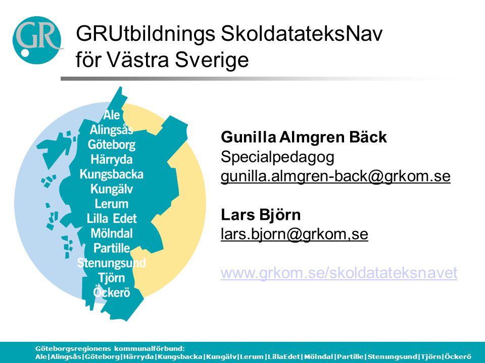 Göteborgsregionens kommunalförbund: Ale|Alingsås|Göteborg|Härryda|Kungsbacka|Kungälv|Lerum|LillaEdet|Mölndal|Partille|Stenungsund|Tjörn|Öckerö GRUtbil