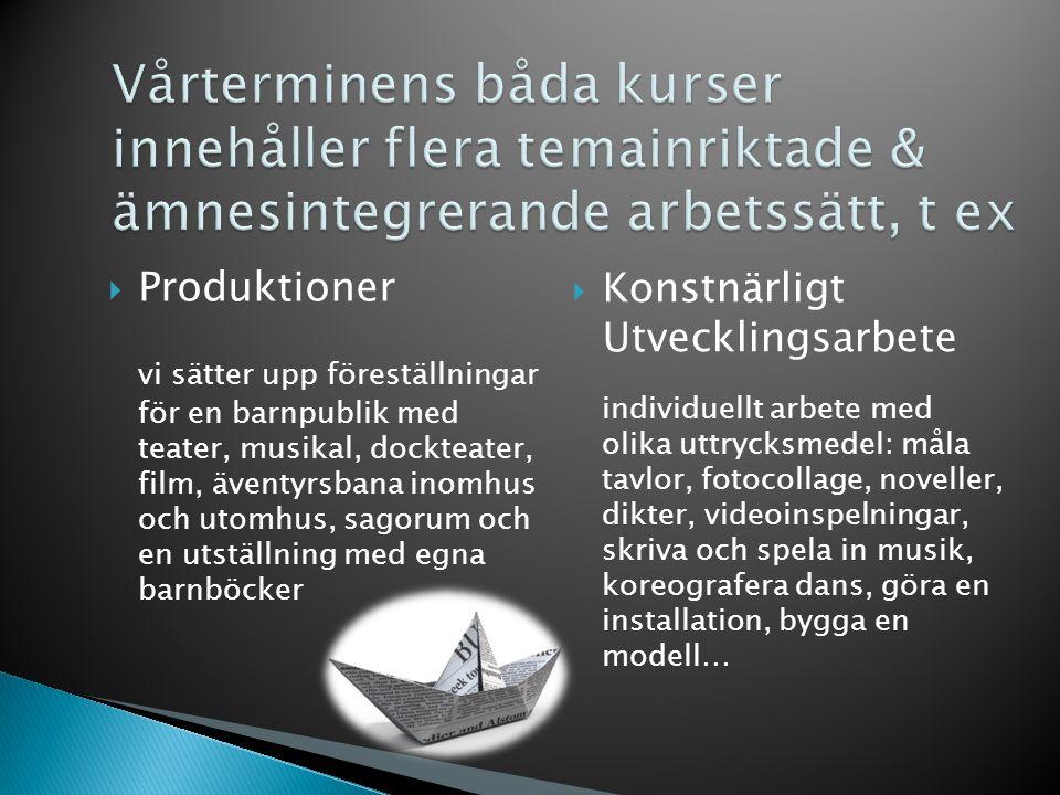  Produktioner vi sätter upp föreställningar för en barnpublik med teater, musikal, dockteater, film, äventyrsbana inomhus och utomhus, sagorum och en