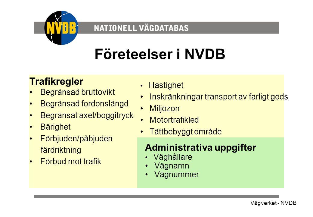Vägverket - NVDB Företeelser i NVDB Administrativa uppgifter • Väghållare • Vägnamn • Vägnummer Trafikregler •Begränsad bruttovikt •Begränsad fordonslängd •Begränsat axel/boggitryck •Bärighet •Förbjuden/påbjuden färdriktning •Förbud mot trafik • Hastighet • Inskränkningar transport av farligt gods • Miljözon • Motortrafikled • Tättbebyggt område