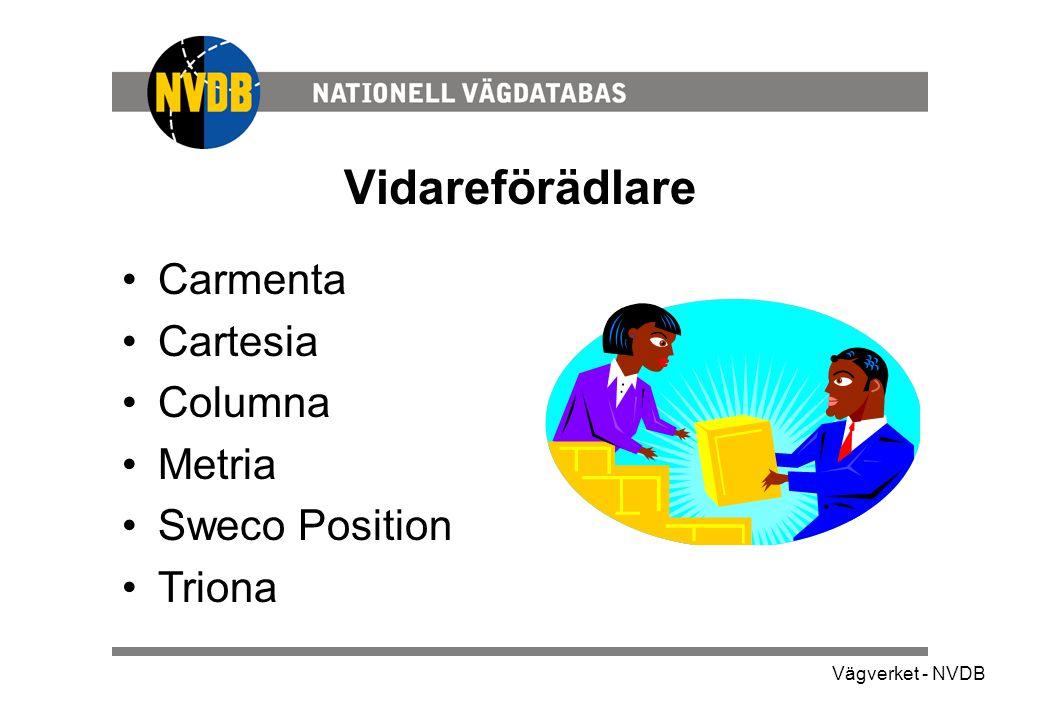 Vägverket - NVDB Vidareförädlare •Carmenta •Cartesia •Columna •Metria •Sweco Position •Triona