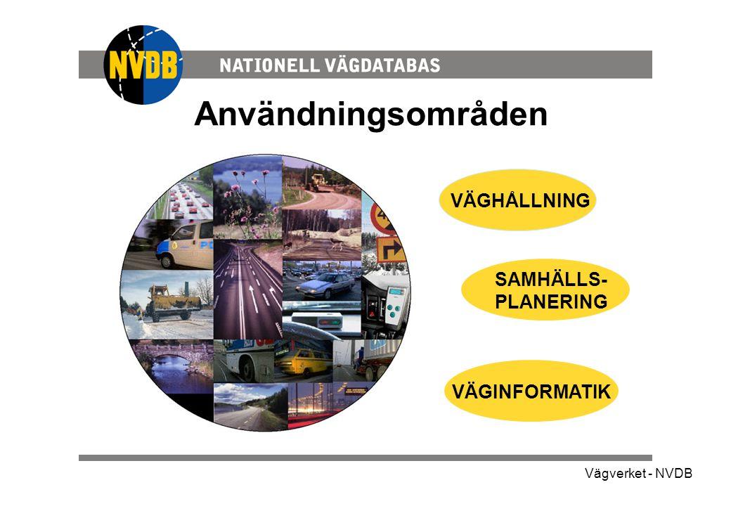 Vägverket - NVDB Användningsområden SAMHÄLLS- PLANERING VÄGINFORMATIK VÄGHÅLLNING