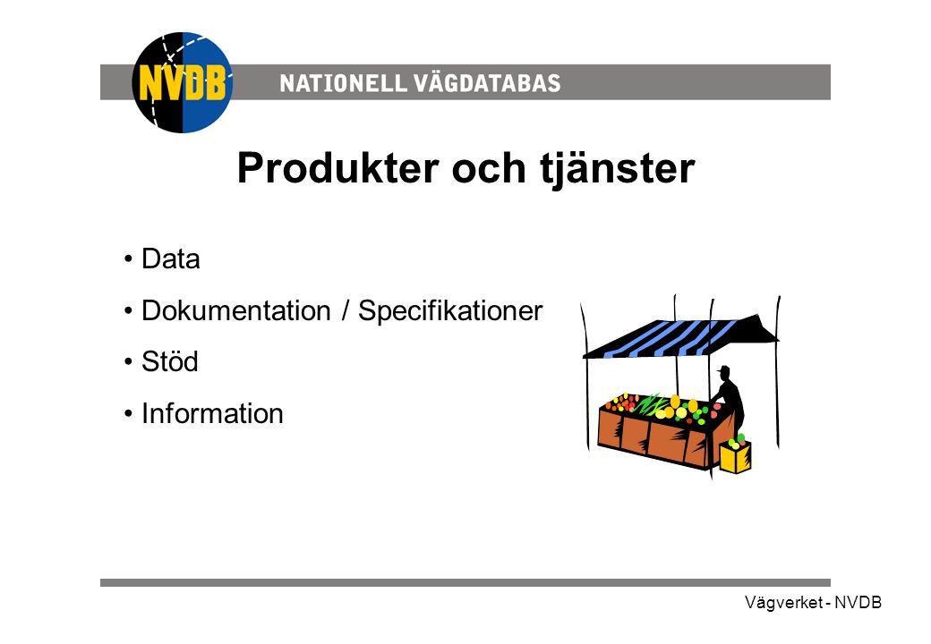 Vägverket - NVDB Aktuellt innehåll •Vägnätet –Hela Sveriges vägnät •Företeelser på statligt vägnät –Vägnummer –Bärighet –Hastighet –Vägbredd –Motorväg –Motortrafikled –Väghållare