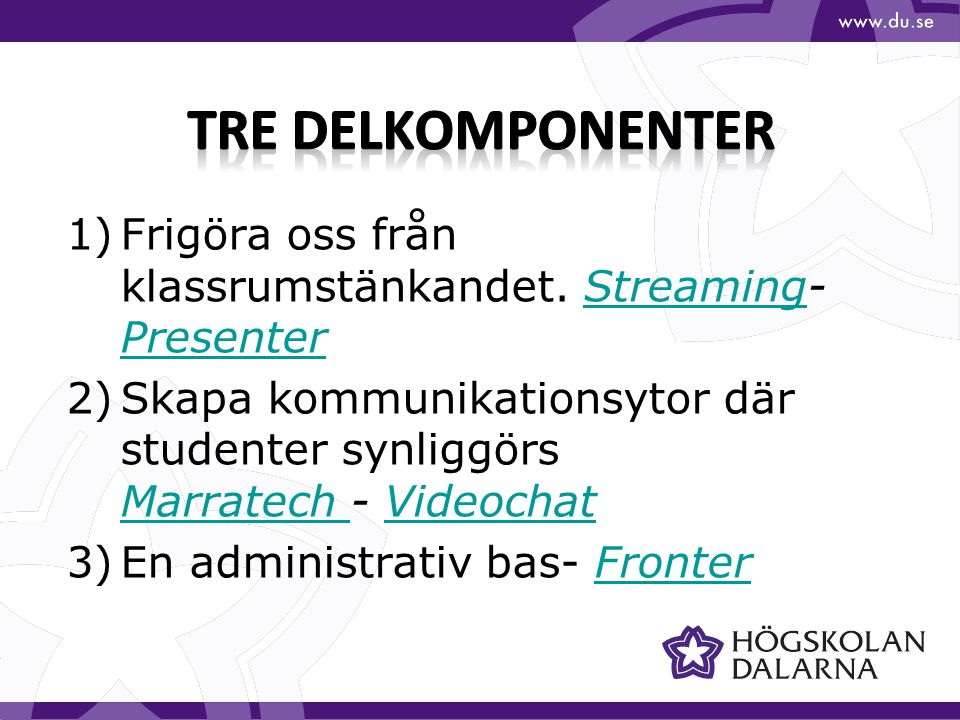 1)Frigöra oss från klassrumstänkandet. Streaming- PresenterStreaming Presenter 2)Skapa kommunikationsytor där studenter synliggörs Marratech - Videoch
