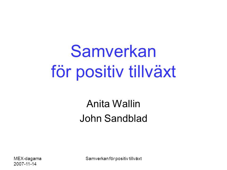 MEX-dagarna 2007-11-14 Samverkan för positiv tillväxt Anita Wallin John Sandblad