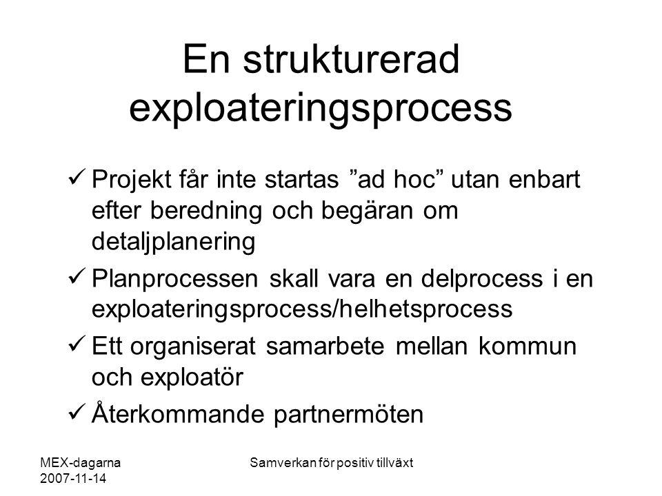 """MEX-dagarna 2007-11-14 Samverkan för positiv tillväxt En strukturerad exploateringsprocess  Projekt får inte startas """"ad hoc"""" utan enbart efter bered"""