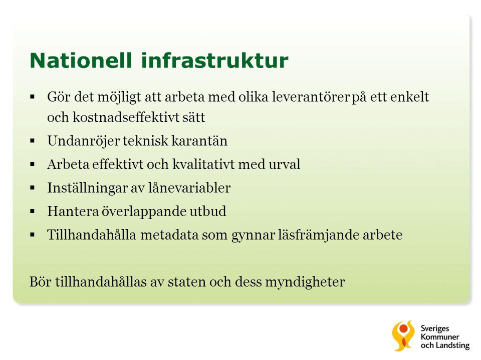 Nationell infrastruktur  Gör det möjligt att arbeta med olika leverantörer på ett enkelt och kostnadseffektivt sätt  Undanröjer teknisk karantän  A