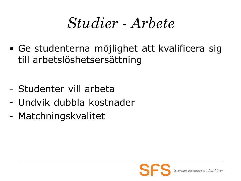 Studier - Arbete •Ge studenterna möjlighet att kvalificera sig till arbetslöshetsersättning -Studenter vill arbeta -Undvik dubbla kostnader -Matchning