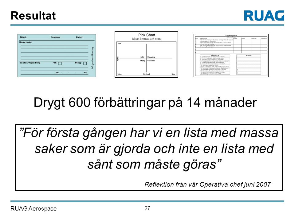 """RUAG Aerospace 27 Resultat Drygt 600 förbättringar på 14 månader """"För första gången har vi en lista med massa saker som är gjorda och inte en lista me"""