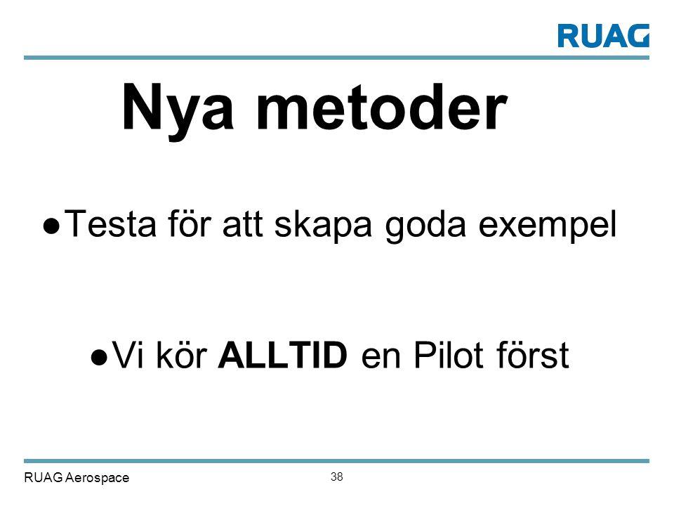 RUAG Aerospace 38 Nya metoder ●Testa för att skapa goda exempel ●Vi kör ALLTID en Pilot först