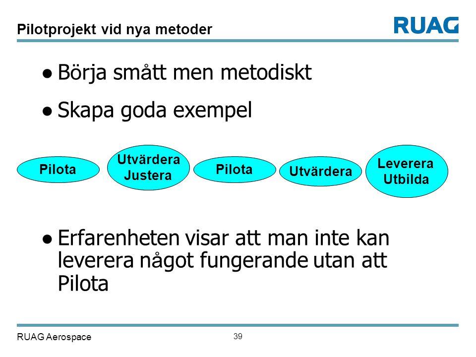 RUAG Aerospace 39 Pilotprojekt vid nya metoder ● B ö rja sm å tt men metodiskt ● Skapa goda exempel ● Erfarenheten visar att man inte kan leverera n å