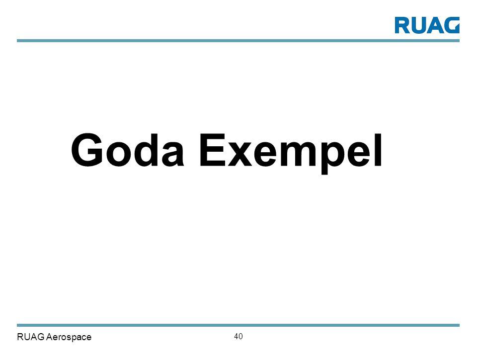 RUAG Aerospace 40 Goda Exempel