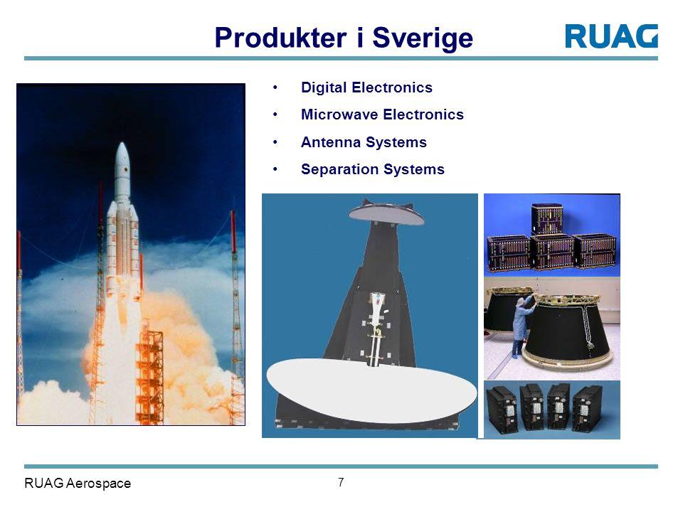 RUAG Aerospace 7 •Digital Electronics •Microwave Electronics •Antenna Systems •Separation Systems Produkter i Sverige