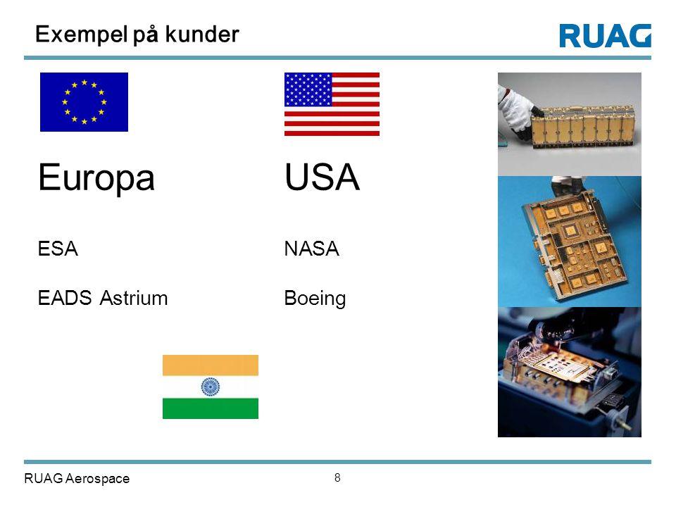 RUAG Aerospace 8 Exempel p å kunder EuropaUSA ESANASA EADS Astrium Boeing