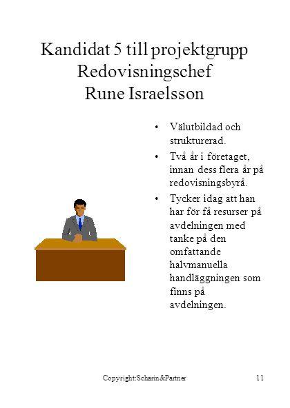 Copyright:Scharin&Partner11 Kandidat 5 till projektgrupp Redovisningschef Rune Israelsson •Välutbildad och strukturerad. •Två år i företaget, innan de