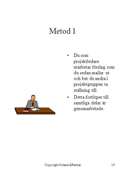 Copyright:Scharin&Partner16 Metod 1 •Du som projektledare utarbetar förslag som du sedan mailar ut och ber de andra i projektgruppen ta ställning till