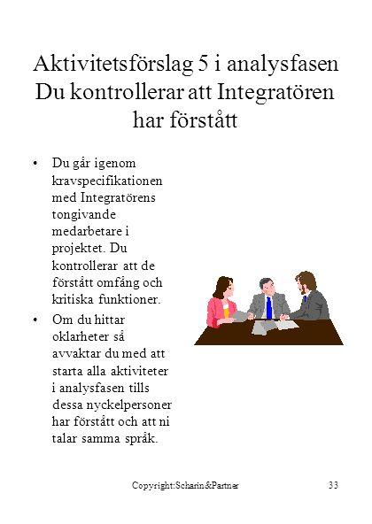Copyright:Scharin&Partner33 Aktivitetsförslag 5 i analysfasen Du kontrollerar att Integratören har förstått •Du går igenom kravspecifikationen med Int