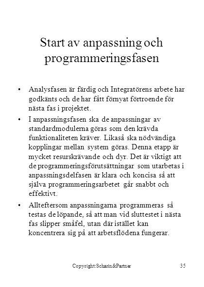 Copyright:Scharin&Partner35 Start av anpassning och programmeringsfasen •Analysfasen är färdig och Integratörens arbete har godkänts och de har fått f