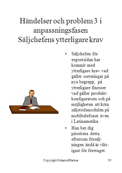 Copyright:Scharin&Partner39 Händelser och problem 3 i anpassningsfasen Säljchefens ytterligare krav •Säljchefen för exportsidan har kommit med ytterli