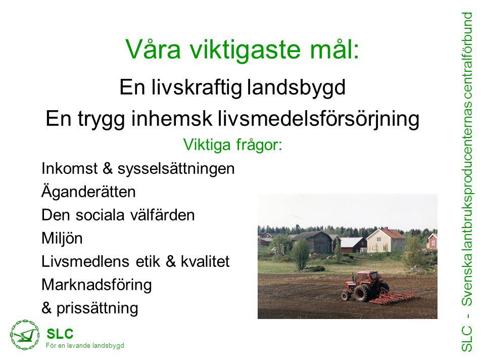 Våra viktigaste mål: SLC För en levande landsbygd SLC - Svenska lantbruksproducenternas centralförbund •Text hit En livskraftig landsbygd En trygg inh
