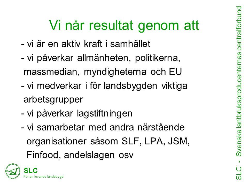 Vi når resultat genom att SLC För en levande landsbygd SLC - Svenska lantbruksproducenternas centralförbund •Text hit - vi är en aktiv kraft i samhäll