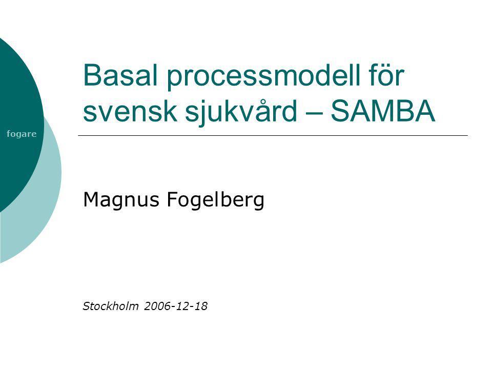 fogare SAMBA  SAMverkan, Begrepp och Arkitektur  ITHS 2-projekt  Processmodell för vård av enskild patient  Modellen beskrivs ur ett producentperspektiv  Modellens avsikt är att utgöra en generell bild över hälso- och sjukvård i Sverige  Processmodellen är ett verktyg som bl a kan användas vid verksamhetsutveckling