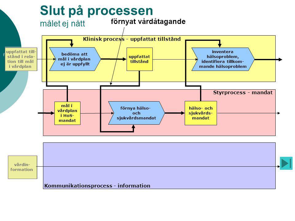 fogare Slut på processen målet ej nått hälso- och sjukvårds- mandat Klinisk process - uppfattat tillstånd Styrprocess - mandat Kommunikationsprocess -