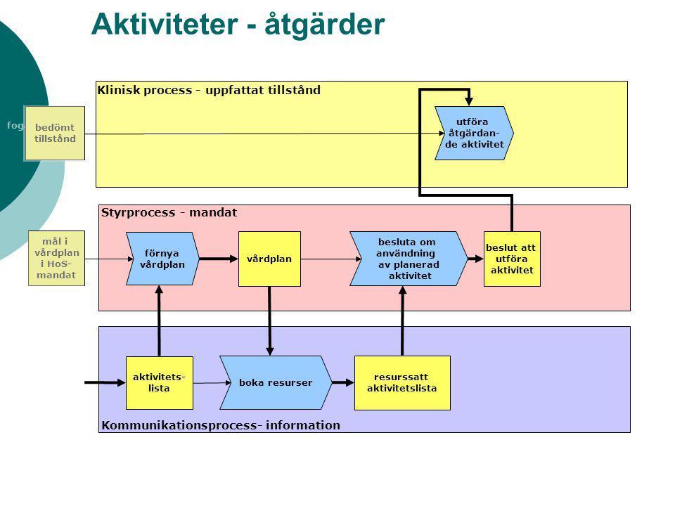 fogare Aktiviteter - åtgärder utföra åtgärdan- de aktivitet vårdplan Klinisk process - uppfattat tillstånd Styrprocess - mandat Kommunikationsprocess-