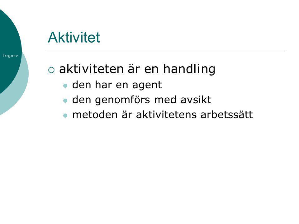 fogare Aktivitet  aktiviteten är en handling  den har en agent  den genomförs med avsikt  metoden är aktivitetens arbetssätt