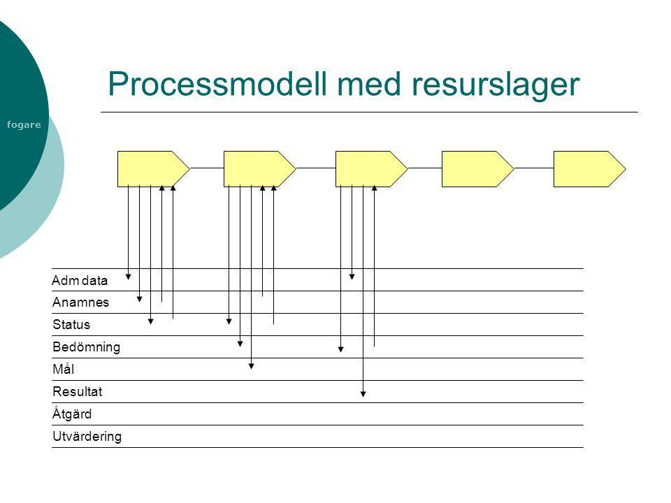 fogare Processmodell med resurslager Adm data Anamnes Status Bedömning Mål Resultat Åtgärd Utvärdering