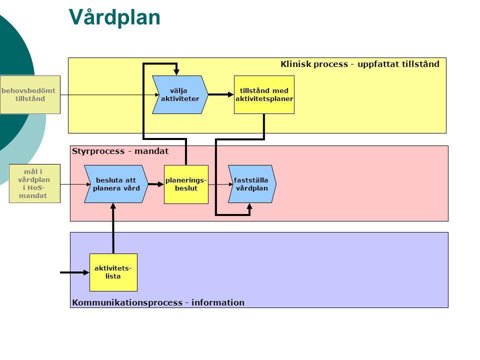fogare Vårdplan välja aktiviteter besluta att planera vård planerings- beslut Klinisk process - uppfattat tillstånd Styrprocess - mandat Kommunikation