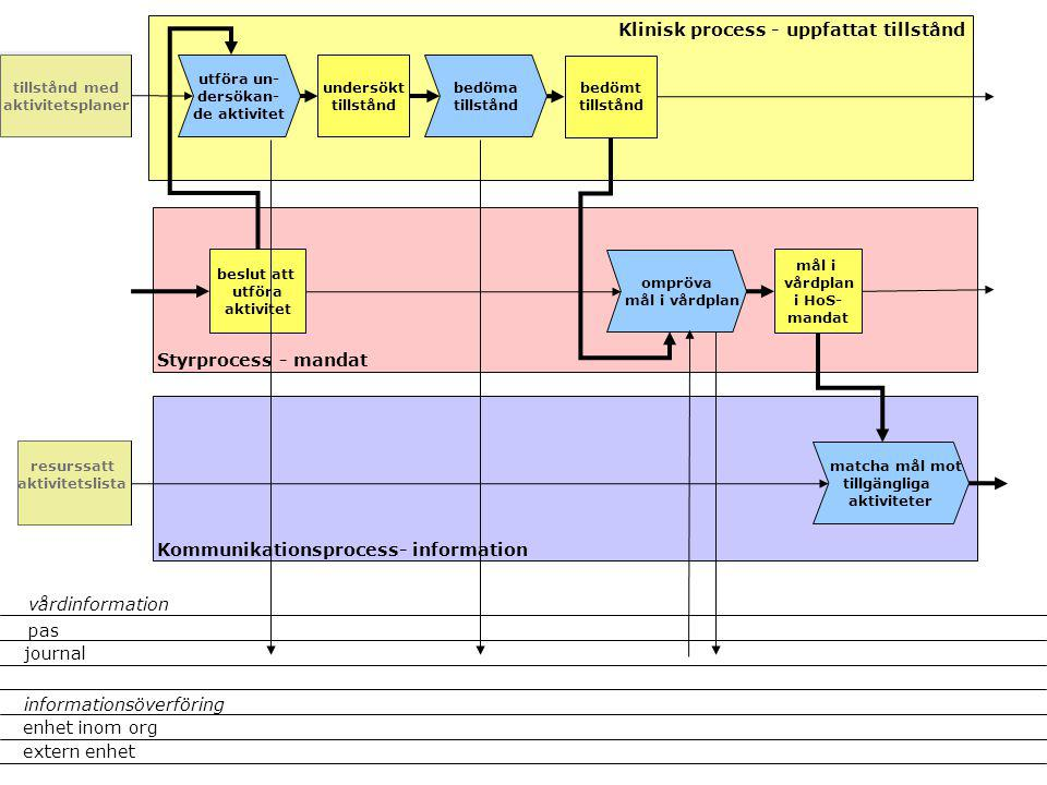 utföra un- dersökan- de aktivitet beslut att utföra aktivitet Klinisk process - uppfattat tillstånd Styrprocess - mandat Kommunikationsprocess- inform