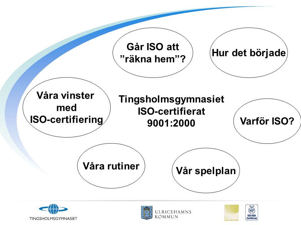 """Varför ISO? Våra vinster med ISO-certifiering Går ISO att """"räkna hem""""? Våra rutiner Hur det började Vår spelplan Tingsholmsgymnasiet ISO-certifierat 9"""