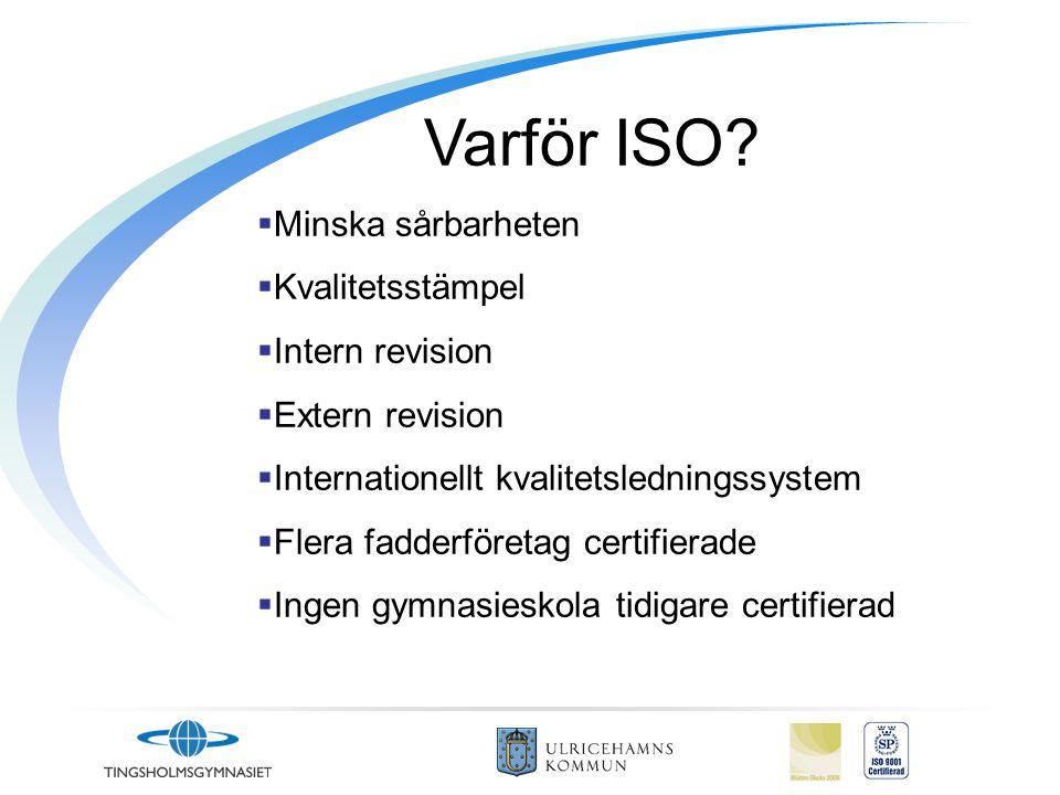 Varför ISO?  Minska sårbarheten  Kvalitetsstämpel  Intern revision  Extern revision  Internationellt kvalitetsledningssystem  Flera fadderföreta