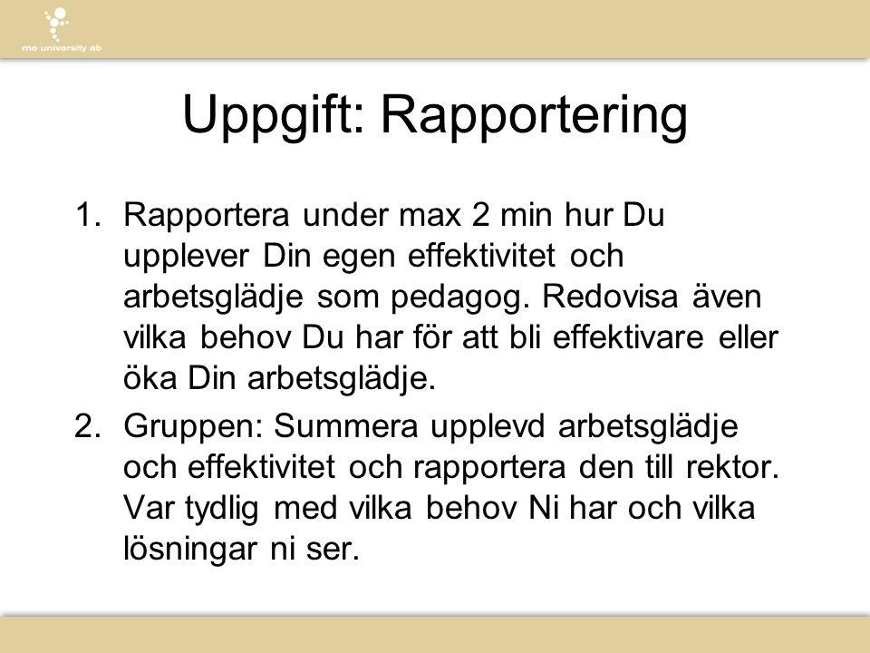 Uppgift: Rapportering 1. Rapportera under max 2 min hur Du upplever Din egen effektivitet och arbetsglädje som pedagog. Redovisa även vilka behov Du h