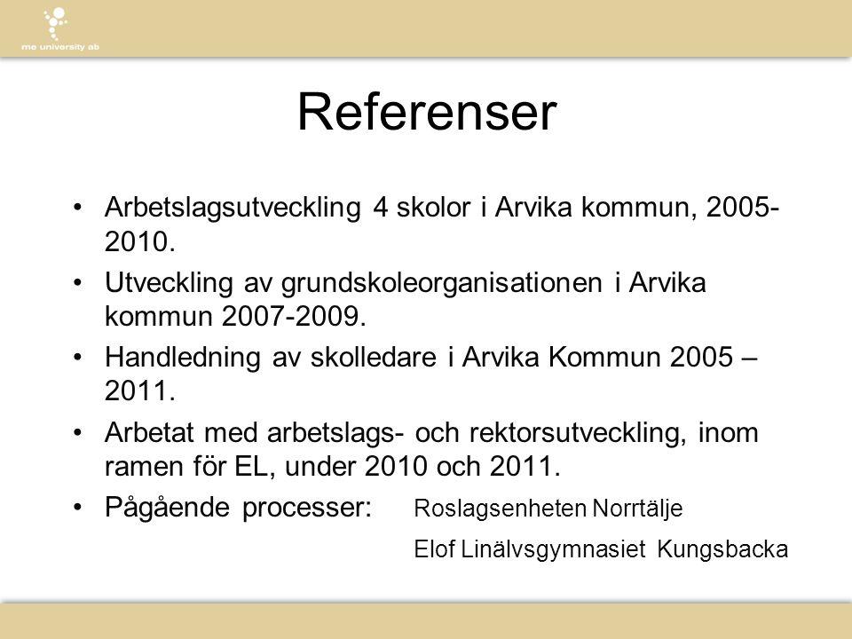 Referenser •Arbetslagsutveckling 4 skolor i Arvika kommun, 2005- 2010. •Utveckling av grundskoleorganisationen i Arvika kommun 2007-2009. •Handledning