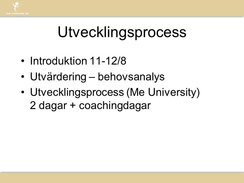 Utvecklingsprocess •Introduktion 11-12/8 •Utvärdering – behovsanalys •Utvecklingsprocess (Me University) 2 dagar + coachingdagar