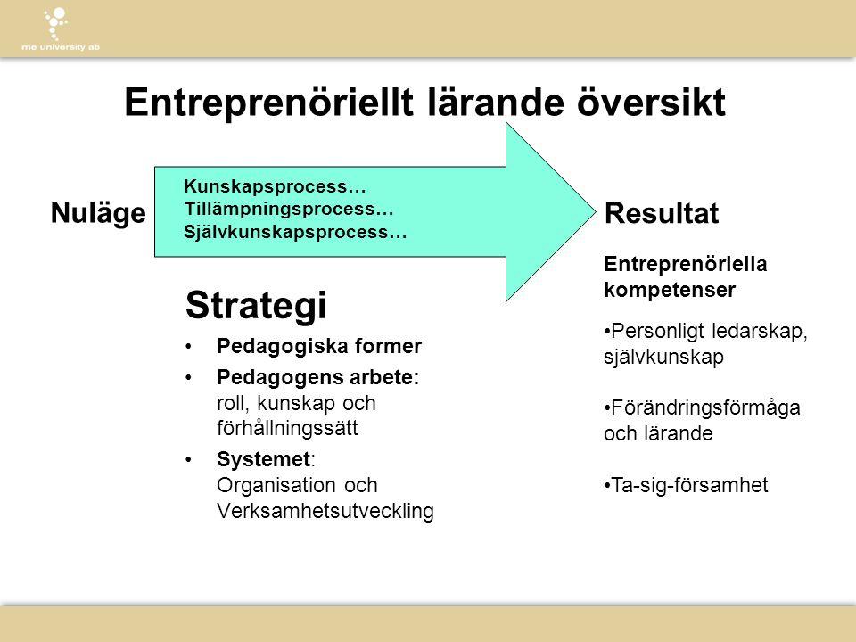 Entreprenöriellt lärande översikt Strategi •Pedagogiska former •Pedagogens arbete: roll, kunskap och förhållningssätt •Systemet: Organisation och Verk