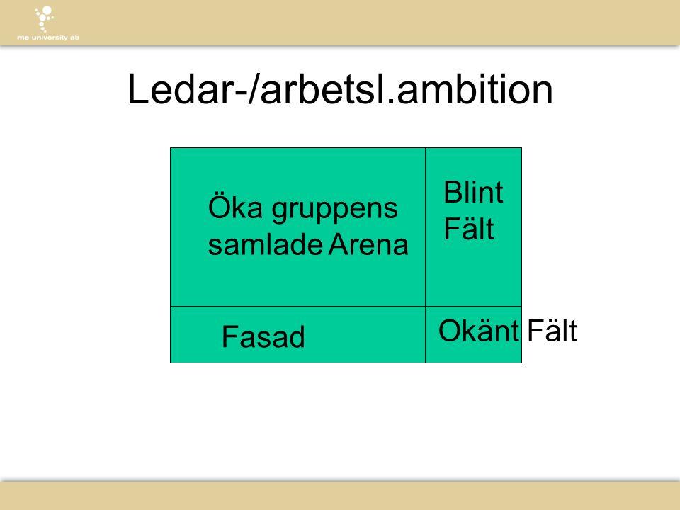 Ledar-/arbetsl.ambition Öka gruppens samlade Arena Fasad Blint Fält Okänt Fält