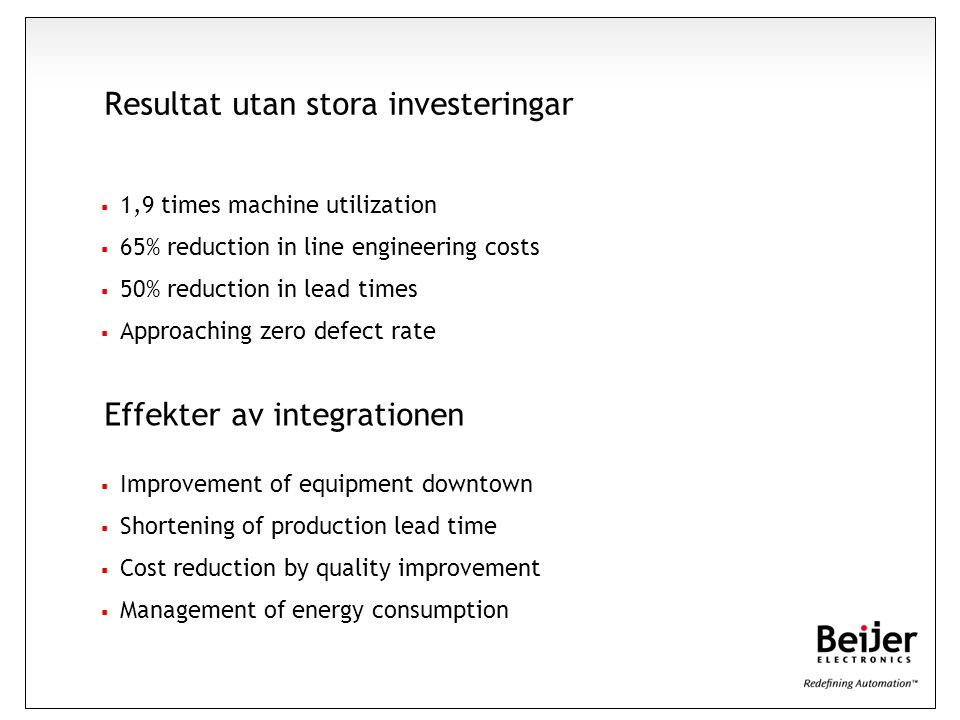 Resultat utan stora investeringar  1,9 times machine utilization  65% reduction in line engineering costs  50% reduction in lead times  Approachin