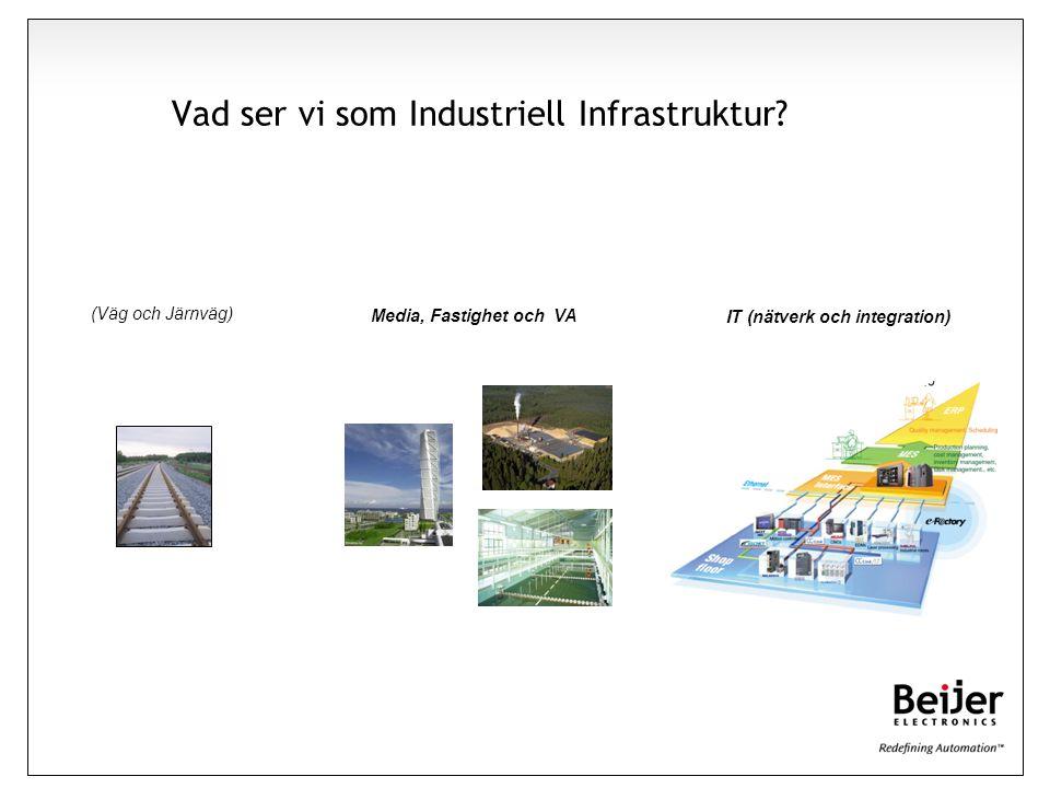 Vad ser vi som Industriell Infrastruktur? (Väg och Järnväg) Media, Fastighet och VA IT (nätverk och integration)
